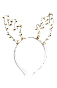 Capelli New York Jingle Bells Reindeer Headband, Size One Size - Metallic
