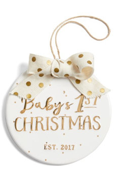 Mud Pie Baby's 1st Christmas - 2017 Ornament, Size One Size - White