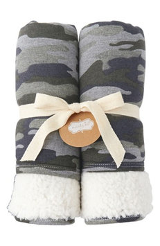 Mud Pie Camo Fleece Blanket, Size One Size - Green