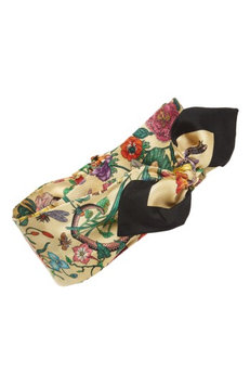 Gucci Tea Floral Snake Silk Headband, Size One Size - Ivory