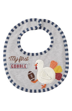 Infant Mud Pie My First Thanksgiving Football Bib, Size One Size - Grey