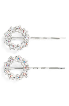 Tasha Set Of 2 Crystal Flower Wreath Bobby Pins, Size One Size - Metallic