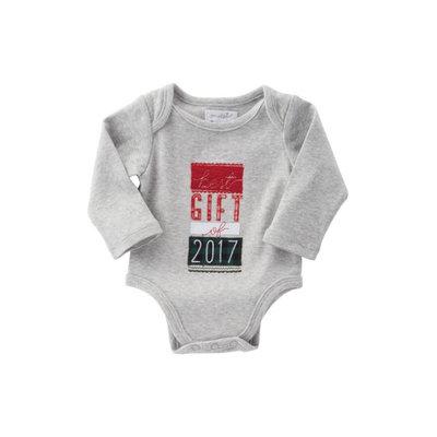 Infant Mud Pie Best Gift Of 2017 Bodysuit, Size 0-6M - Grey