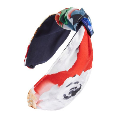 Cara Flower Print Knot Head Wrap, Size One Size - Blue
