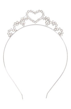 The Accessory Collective Accessory Collective Crystal Heart Headband, Size One Size - Metallic