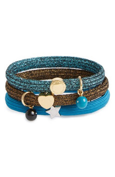 Marc Jacobs Set Of 3 Icon Ball Charm Ponytail Holders, Size One Size - Blue