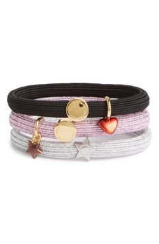 Marc Jacobs Set Of 3 Heart & Star Charm Ponytail Holders, Size One Size - Pink