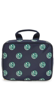 Tory Burch Quinn Print Hanging Cosmetic Case, Size One Size - Geo Print Navy