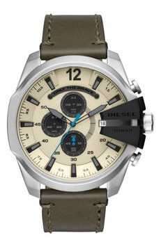 Dieselr Diesel Mega Chief Chronograph Leather Strap Watch, 51mm X 59mm