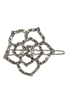 Cara Small Crystal Rose Hair Clip, Size One Size - Black
