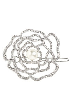 Cara Crystal Rose Hair Clip, Size One Size - Metallic
