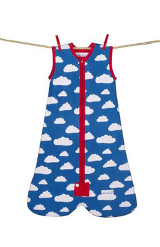 Little Fishkopp Clouds Organic Cotton Sleep Bag, Size Small - Blue