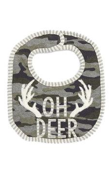 Infant Mud Pie Oh Deer Camo Bib, Size One Size - Green
