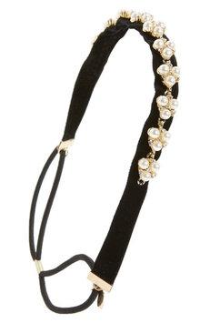 Tasha Crystal & Imitation Pearl Embellished Headwrap, Size One Size - Black