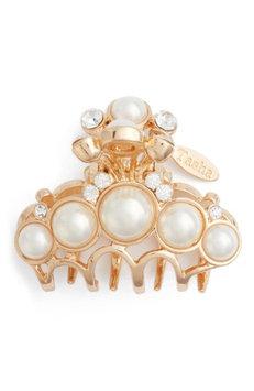 Tasha Imitation Pearl & Crystal Embellished Jaw Clip, Size One Size - Metallic