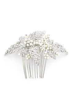 Wedding Belles New York Glass Pearl Hair Comb, Size One Size - Metallic