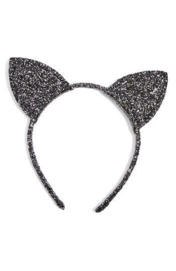 Topshop Glitter Cat Ears Headband, Size One Size - Black
