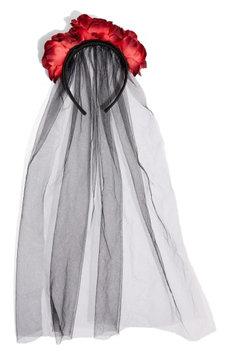 Topshop Halloween Flower Veil Headband, Size One Size - Black