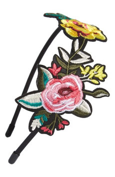 Cara Embroidered Flower Headband, Size One Size - Black