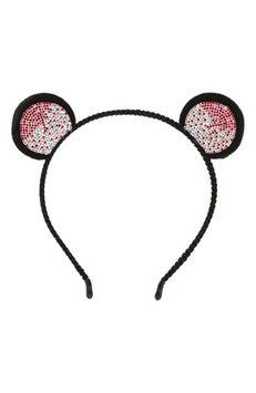 Cara Crystal Bear Ear Headband, Size One Size - Black