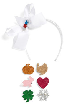 Capelli Of New York Bow Headband & Hair Clips Set, Size One Size - White