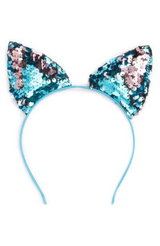 Capelli Of New York Sequin Cat Ears Headband, Size One Size - Blue/green