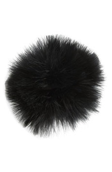 Cara Feather Pompom Ponytail Holder, Size One Size - Black