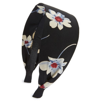 Cara Flower Print Headband, Size One Size - Black