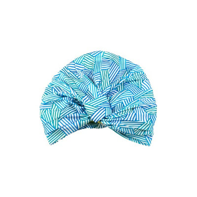 Louvelle Amelie Aqua Strip Turban Shower Cap, Size One Size - Blue/green