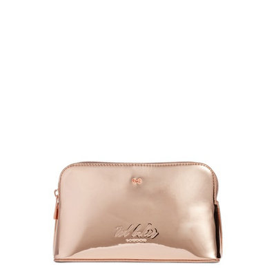 Ted Baker London Lindsay Metallic Cosmetics Case, Size One Size - Rose Gold