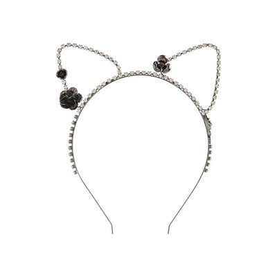Berry Cat Ears & Roses Headband, Size One Size - Black