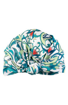 Louvelle Dahlia Botanical Turban Shower Cap, Size One Size - Green