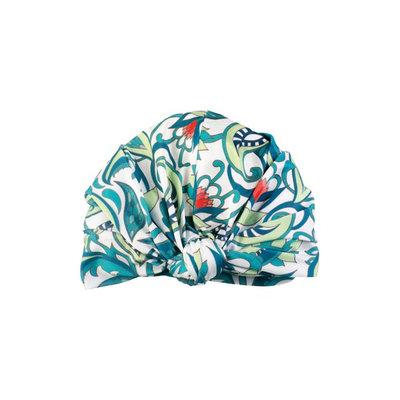 Louvelle Dahlia Botanical Turban Shower Cap, Size One Size - Green