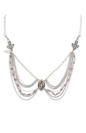 Topshop Lily Stone Drop Head Chain, Size One Size - Purple