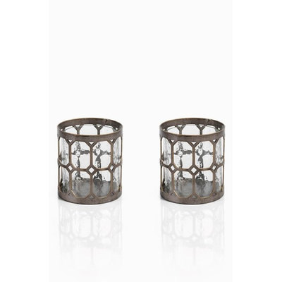 Zodax Tall Guilded Hurricane Candle Holder - Set of 2