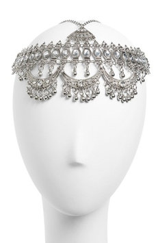 Topshop Coin Head Chain, Size One Size - Metallic