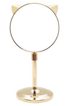 Danielle Creations Cat Ear Extendable Gold Midi Mirror, Size One Size - No Color