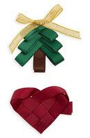 Milledeux 2-Piece Tree & Heart Hair Clip Set, Size One Size - Green