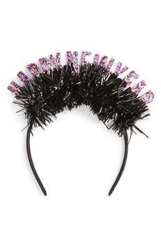 Capelli New York Glitter New Year Headband, Size One Size - Black