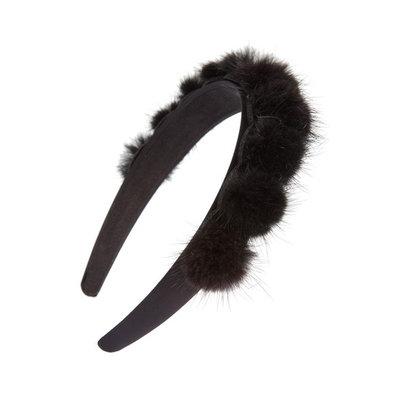 Tasha Genuine Mink Pom Headband, Size One Size - Black