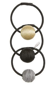 Tasha 3-Pack Ball Charm Ponytail Holders, Size One Size - Metallic