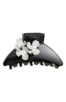 Cara Imitation Pearl Flower Jaw Hair Clip, Size One Size - Black
