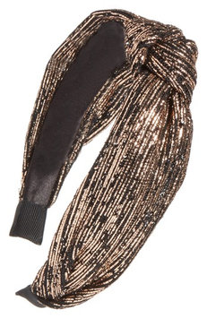 Berry Golden Knotted Headband, Size One Size - Metallic