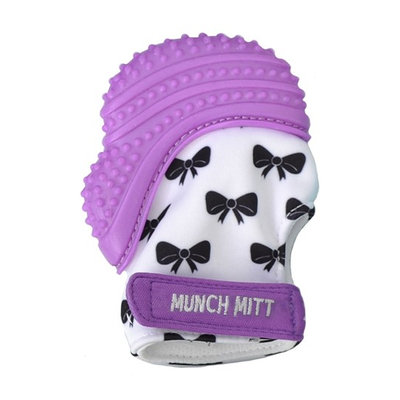 Infant Girl's Munch Mitt Bow Print Teething Mitt, Size One Size - Purple