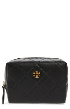 Tory Burch Small Georgia Leather Makeup Bag, Size One Size - Black