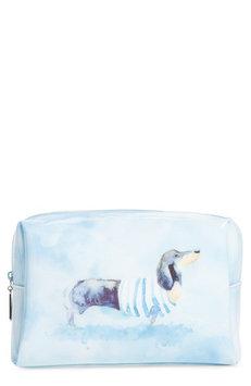 Catseye London Large Watercolor Dog Cosmetics Bag, Size One Size - Blue