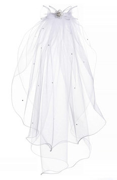 Lauren Marie Beaded Bow & Veil, Size One Size - White