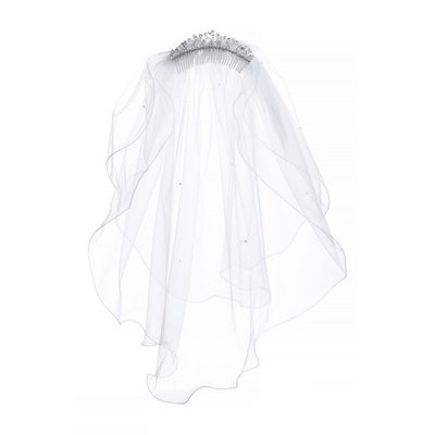 Lauren Marie Imitation Pearl Crown & Veil, Size One Size - White