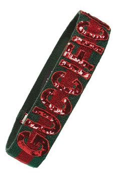 Gucci Tennix Sequin Logo Headband, Size Medium - Green