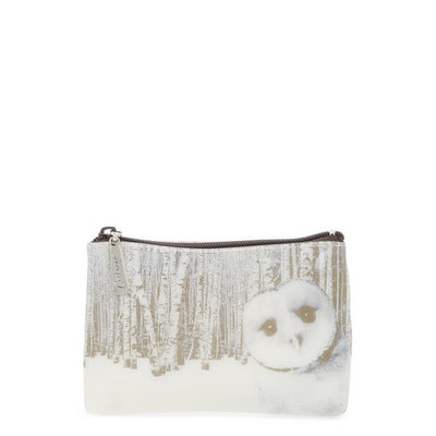 Catseye London Owl In Woods Zip Pouch, Size One Size - Cream